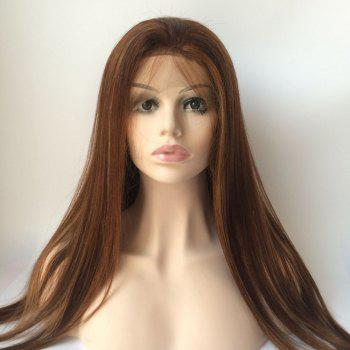 Long Lace Front Real Natural Hair Straight Wig - BROWN