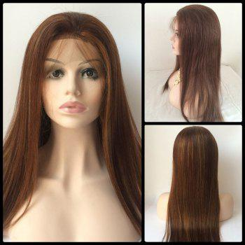 Long Lace Front Real Natural Hair Straight Wig - BROWN BROWN
