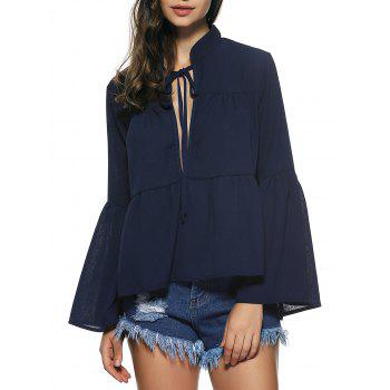 Bell Sleeves Lace Up Flounce Blouse