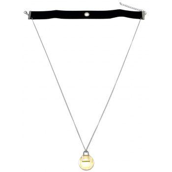 Faux Leather Choker Lock Sweater Chain - BLACK