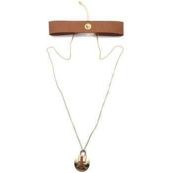 Faux Leather Choker Lock Sweater Chain - ANTIQUE BROWN
