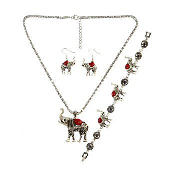 Faux Gem Elephant Necklace Set