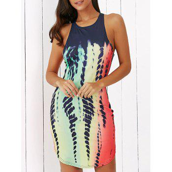 Sleeveless Printed Racerback Fitted Mini Dress - COLORMIX XL