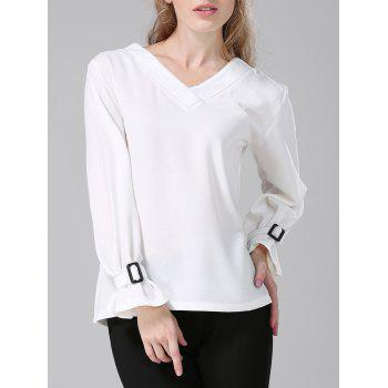 V-Neck Topstitched Loose-Fitting Blouse