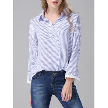 Pinstriped Loose-Fitting Blouse