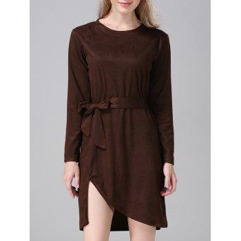 Suede Furcal Tie-Waist Dress