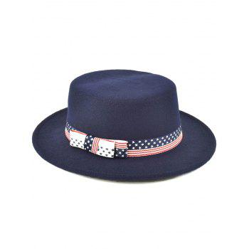 Bowknot Star Striped Flat Top Fedora Hat