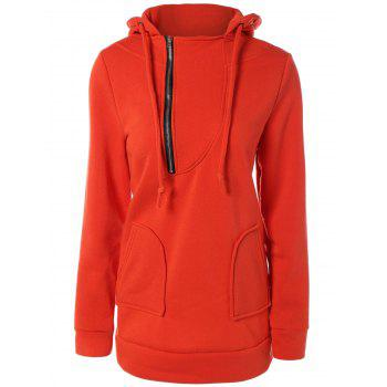 Pocket Design Drawstring Long Hoodie