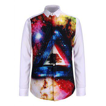 Turn-Down Collar 3D Colorful Starry Sky Print Long Sleeve Shirt