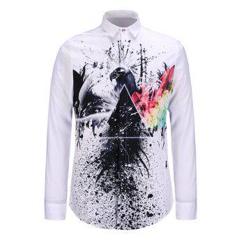 Turndown Collar Splatter Paint and Eagle Print Shirt