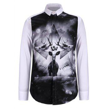 Turn-Down Collar 3D Symmetrical Elk Print Long Sleeve Shirt