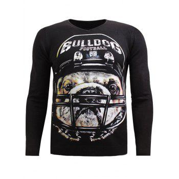 V-Neck Long Sleeve 3D Rugby Dog Print Sweater