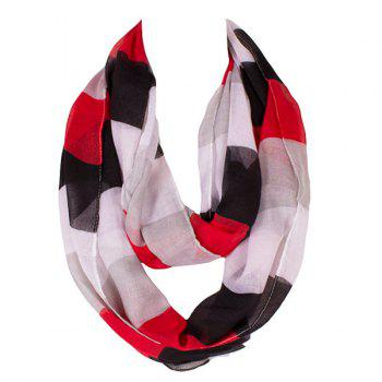 Trendy Color Block Stripe Pattern Voile Scarf