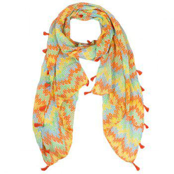 Fringe Tassel Color Mix Knitted Print Voile Scarf