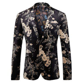 Lapel Floral Print Single-Breasted Blazer