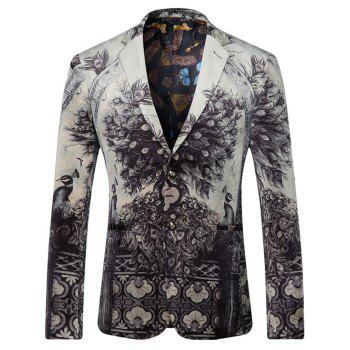 Lapel 3D Symmetrical Peacock Print Single-Breasted Blazer