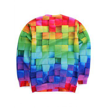 Round Neck Long Sleeve 3D Colorful Cube Print Sweatshirt - COLORMIX S