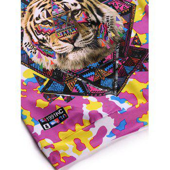 Round Neck Long Sleeve 3D Colorful Camo and Tiger Print Sweatshirt - COLORMIX M