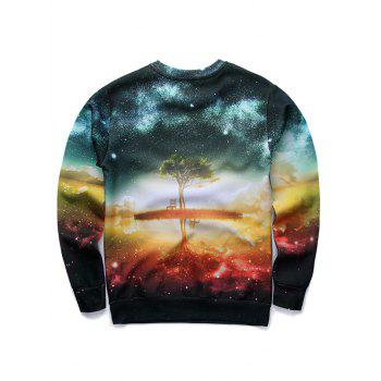 Round Neck Long Sleeve 3D Starry Sky and Tree Print Sweatshirt - COLORMIX L