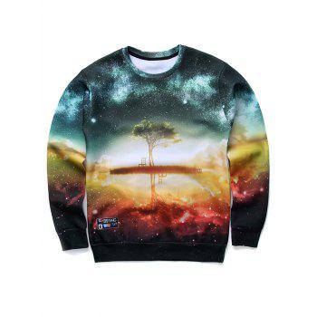 Round Neck Long Sleeve 3D Starry Sky and Tree Print Sweatshirt