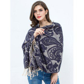 Winter Vintage Flower Printed Tassel Wrap Shawl Pashmina