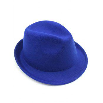 Pure Color Wool Embellished Flanging Fedora Hat - BRIGHT BLUE