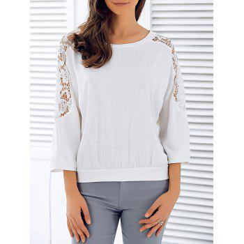 3/4 Sleeve Openwork Lace Spliced T-Shirt