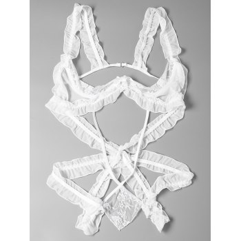 Lace Strappy Ruffled Cut Out Teddy