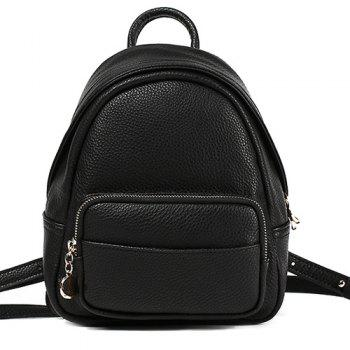 Textured PU Leather Zips Backpack