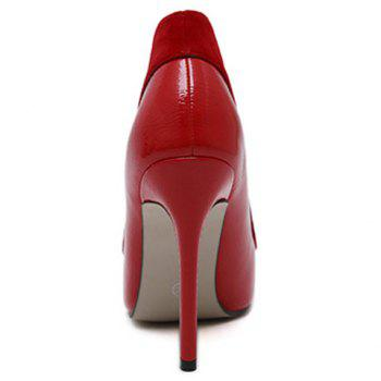 Flock Spliced Pointed Toe Stiletto Heel Pumps - RED 39