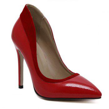 Flock Spliced Pointed Toe Stiletto Heel Pumps