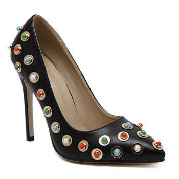 Colorful Bead Metal Stiletto Heel Pumps