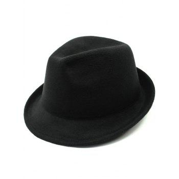 Pure Color Wool Embellished Flanging Fedora Hat