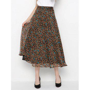 High-Waisted Tiny Floral Print Skirt