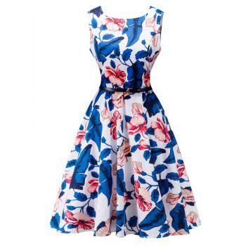 Belted Floral Print High Waist Swing Dress - WHITE WHITE