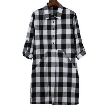 Shirt Neck Long Sleeve Check Shirt Dress