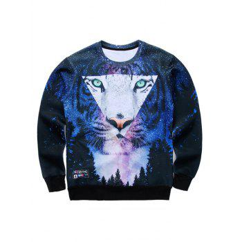 Round Neck Long Sleeve 3D Starry Sky and Tiger Print Sweatshirt