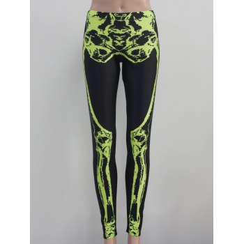 Hallowmas Skeleton Print Elastic Leggings
