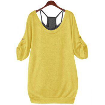 Stylish Half Sleeve Scoop Neck Hollow Out Lace-Up T-Shirt + Solid Color Tank Top Women's Twinset