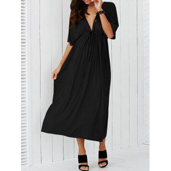 Plunging Neck Empire Waist Casual Maxi Dress
