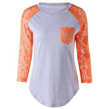 Single Pocket Lace Splicing T-Shirt - ORANGE L