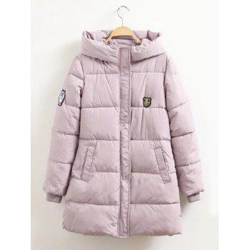Pocket Design Badged Hooded Down Coat