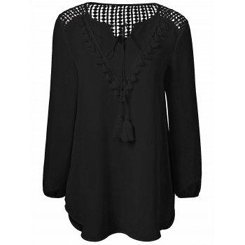 Tassles Splicing Long Sleeve Chiffon Blouse