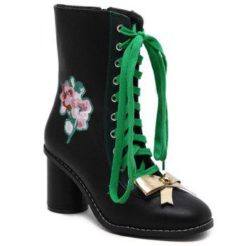 Floral Embroidery Metallic Bow Lace-Up Short Boots