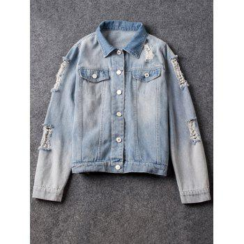 Shirt Neck Ripped Light Denim Jacket
