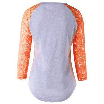 Single Pocket Lace Splicing T-Shirt - ORANGE ORANGE