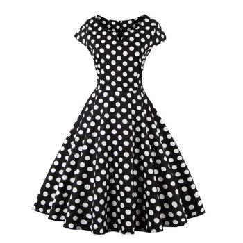 Retro Style Polka Dot Print Dress