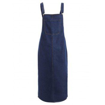 Front Pocket Slit Denim Midi Pinafore Dress