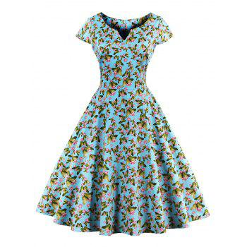 Retro Style Butterfly Print Dress