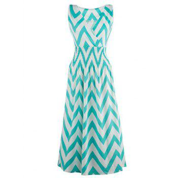Sleeveless Surplice Zig Zag Print Dress